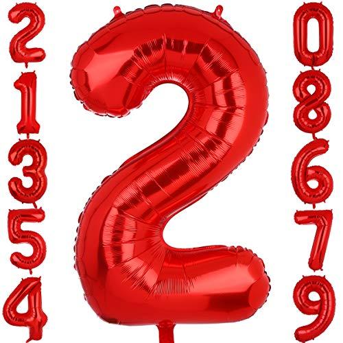 Big Eye Owl Globos gigantes de 100 cm, color rojo, número 2, de plástico Mylar gigante, globos de helio, para cumpleaños, fiestas, suministros para bebés