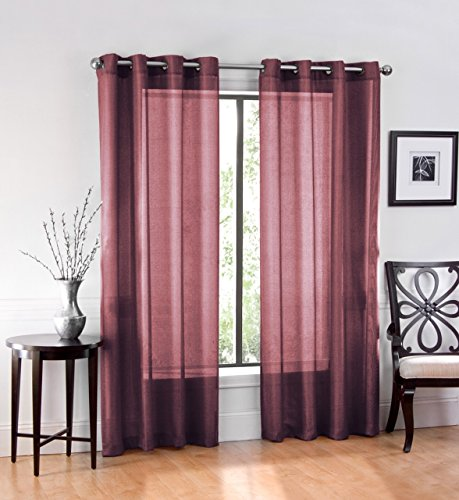 """Ruthy's Textile 2 Piece Window Sheer Curtains Grommet Panels 54"""" X 84"""" Total 108"""" X 84"""" Inch Length for Bedroom/Living Room Color: Plum"""