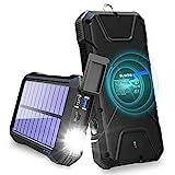 Fast Power Bank 20000mAh,BLAVOR Carga inductiva 10W/7.5W y 18W Quick Charge 3.0,cargador solar mejorada la batería externa,energía emergencia portátil con puertos entrada tipo C,2 USB,luz LED,brújula