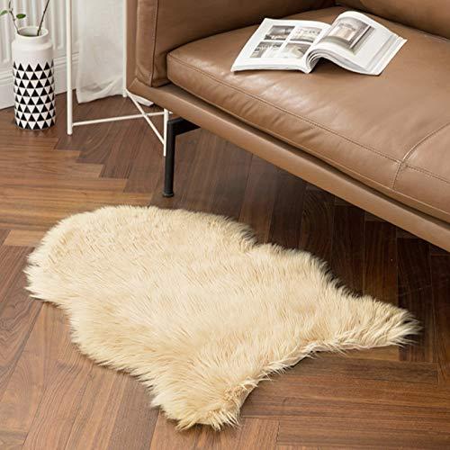 MIULEE Faux Fell Teppich Flauschig Weiche Warm Modern Bodenmatte Sofa Matte Kunstfell Dekofell Unregelmäßig Bettvorleger Wolle Longhair Optik Gemütliches 60 x 90cm Beige