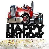 Heavy Trucks Happy Birthday Cake Topper Decorations for Transportation Theme Picks for Kids Birthday Party Decor Supplies