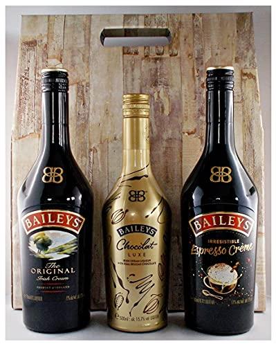 Geschenk 3 Flaschen Baileys Likör: Chocolat Luxe, Original, Espresso in Geschenkverpackung mit praktischen Griff