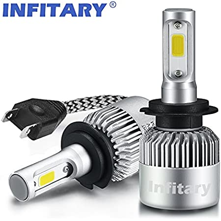 Amazon Com Infitary H7 Led Headlight Bulbs High Low Beam Fog Light Plug And Play Conversion Kit Auto Headlamp Car Head Light 72w 6500k White 2bulbs Set Automotive