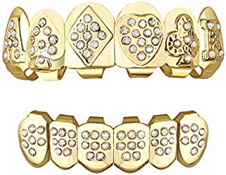 TSANLY Gold Grillz Teeth Set CZ Diamonds Grillz 24k Plated Gold Top & Bottom Grill Hip Hop Bling Iced Out Grillz for Son + Extra Molding Bars + Microfiber Cloth