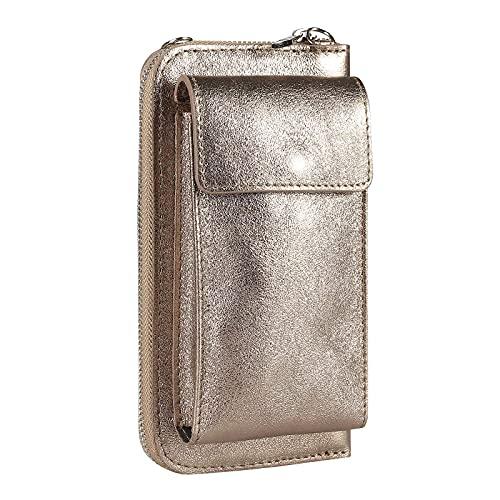 OBC Made in Italy Damen Leder Handytasche Tasche Umhängetasche Geldbörse Schultertasche Brieftasche Smartphone Geldtasche Ledertasche Crossbody Abendtasche Handy bis 6,5 Zoll Bronze