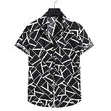 Top de la Blusa de la Camisa del botón de la Manga Corta de la impresión del Lino del algodón de la Moda de los Hombres
