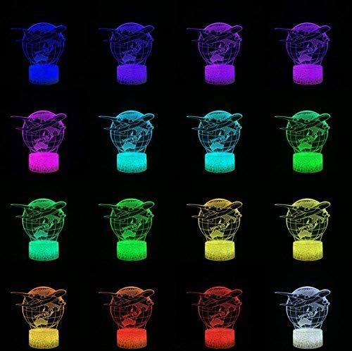 Décorations pour la maison Avion Terre 3D Lampe Enfant LED Veilleuse Étudiant Accueil Chevet Décor Lave Éclairage USB Multicolore Aviation Univers Enfant Cadeau