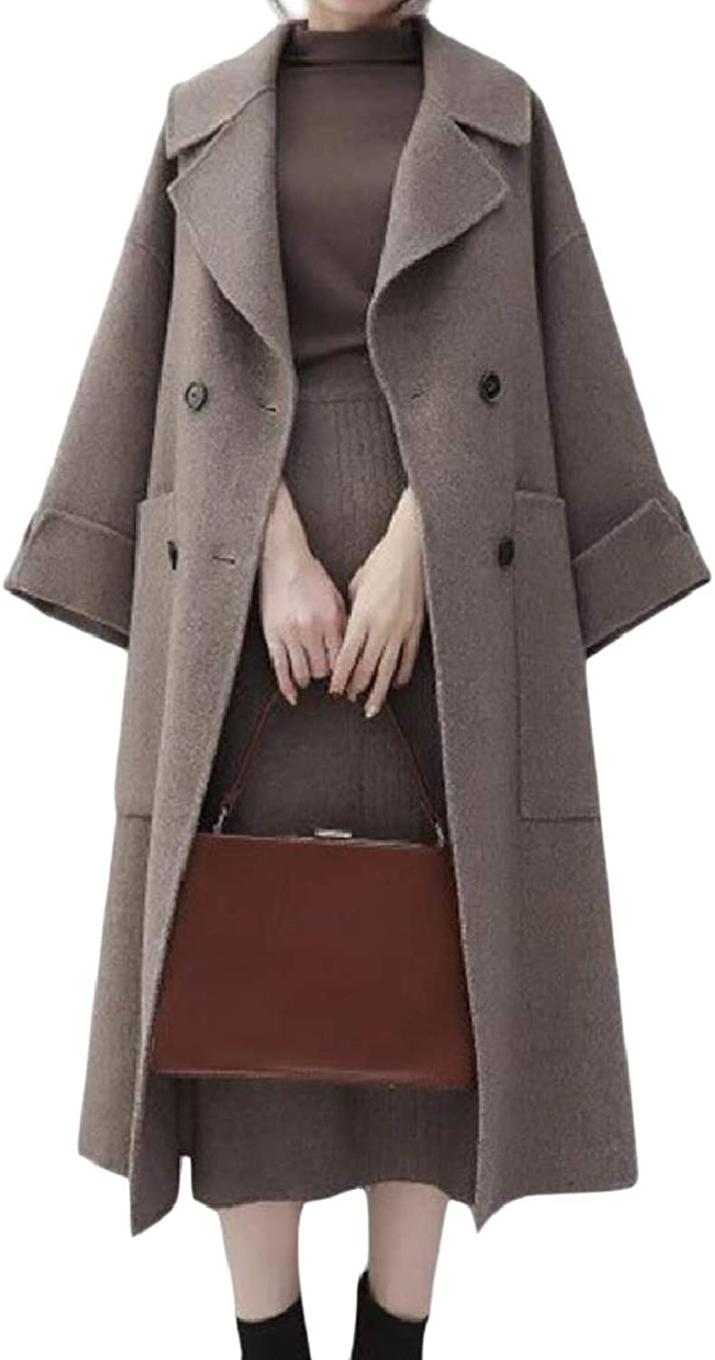 Coolhere Women Baggy Style Lapel Double Breasted Woolen Thick Parka Jacket