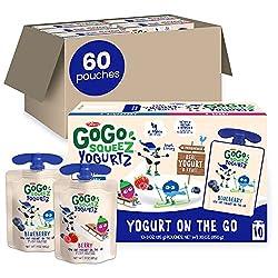 cheap GoGo SqueeZ YoghurtZ, Variety Pack (Blueberry / Berry), 3oz (60 minutes), Low Fat Yogurt, Gluten Free …