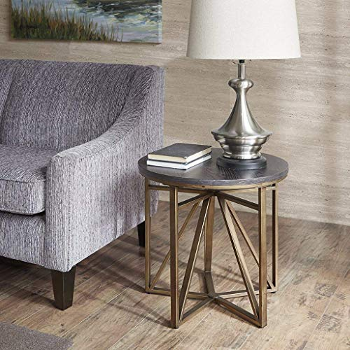 Madison Park Madison Accent Tables - Metal, Wood Side Table - Black, Gold, Modern Style End Tables - 1 Piece Antique Bronze Small Tables For Living Room