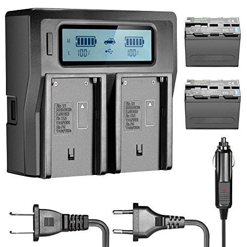 Neewer - Batería de Ion de Litio para Sony NP-F970 NP-F970 NP-F960 NP-F975 NP-F570 NP-F750 NP-F770 y LCD Doble Cargador, CN160 FW568 F100 F200 FW700