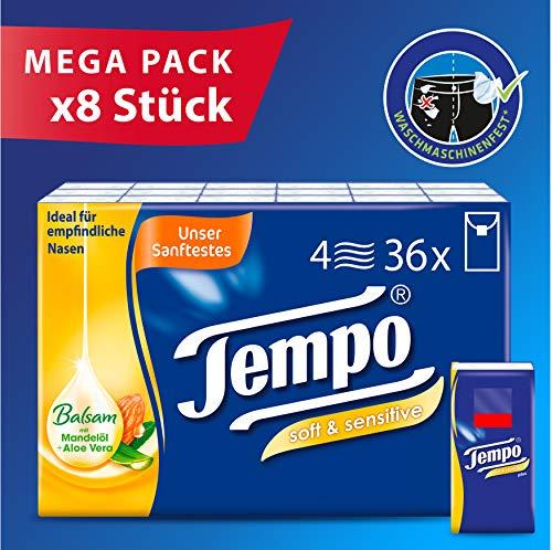 Tempo Taschentuch soft & sensitive, 8 Packungen mit je 36 Stück