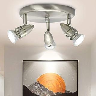 Depuley Spots de Plafond Orientable, 3 Ampoule GU10 Incluse, Design Moderne Nickel, Luminaire Intérieur pour Salon, Chambr...