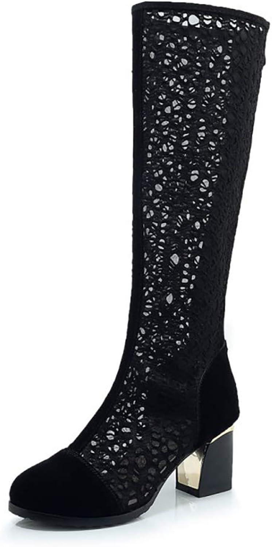 Mzq-yq Damen Knie-High Stiefel, Ladies Mesh Breathable Stiefel, Chunky Heel und Zip Buckle Damen Stiefel