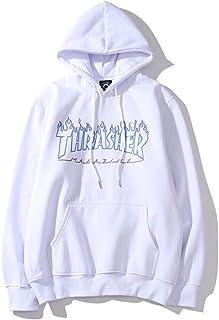 Men's Hoodie Sport Basic Zip Sweatshirt Casual Style MixPull en Velours et imprimé Flammes, Manteau de Ville Neutre