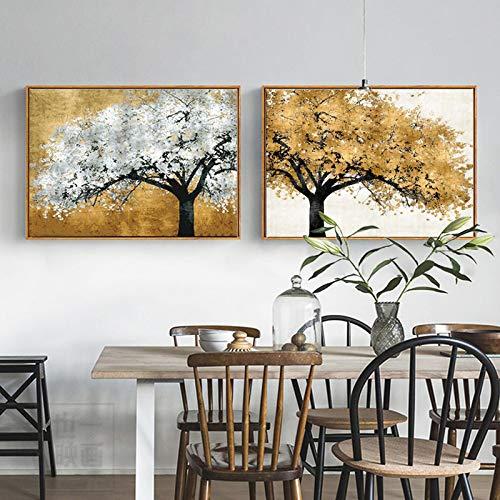 Golden Silver Rich Tree Moderne Leinwandbilder Abstrakte Kunst für Wohnzimmer Poster und Drucke Landschaftsbilder -50x70cmx2 Rahmenlos