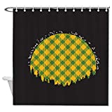 Duschvorhang ohne Marke, grün-gelbes Gitter Vollmond im Wald, wasserdicht, mit 12 Haken, maschinenwaschbar, für Badezimmer-Dekoration, Polyester, 182,9 x 182,9 cm