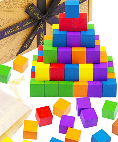 Jaques of London - Wood Square Blocks for Kids – Craft / Educational Small Wooden Cube Block for Adults and Kids (100pcs) with canvas carry bag | Since 1795