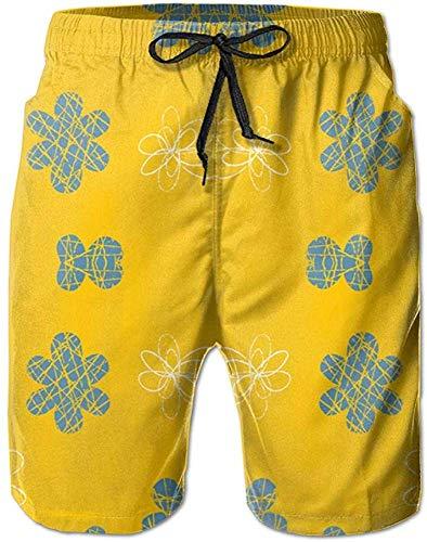 DAWN&ROSE Zwembroek voor heren, zwembroek voor heren, sneldrogende zwembroek met bloemenbloemenblauw, geel, stof, geen mesh voering