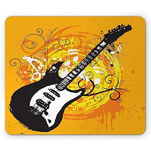 Gitarren-Mausunterlage,Sommer Inspirierte Grafik Der Kreisförmigen Wirbel-Locken Eigenhändig Gemalt,Rutschfestes Gummi-Mousepad des Rechtecks