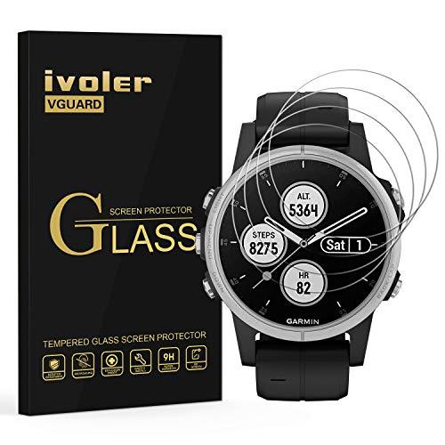 VGUARD [Pack de 4] Verre Trempé pour Garmin Fenix 5S Plus Smartwatch, Film Protection écran en Verre trempé - sans Bulles d'air -Ultra Résistant Dureté 9H pour Garmin Fenix 5S Plus Smartwatch