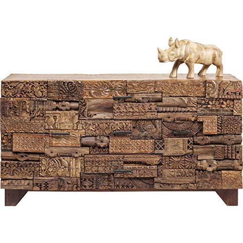 Kare Design Sideboard Shanti Surprise Puzzle Nature, Massivholz Kommode aus Mango, Fantasievolle Kommode , (H/B/T) 90x160x42cm