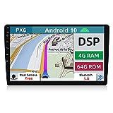 YUNTX PX6+DSP Android 10 Universal Autoradio - 4G+64G - Telecamera Posteriore Gratuiti - 10.1 Pollice - Supporto GPS/DAB/Controllo del volante / 4G / WiFi/Bluetooth 5.0 / Mirrorlink