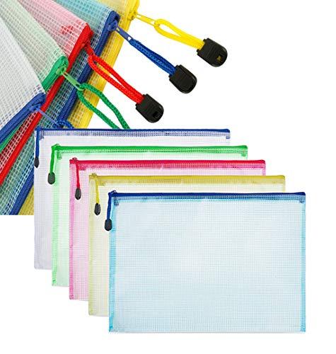 A4 Beutel mit Reißverschluss, wasserdicht, transparent, für Dokumente, Bücher, Kosmetik, Reiseartikel usw. 5 Farben (10 Stück)