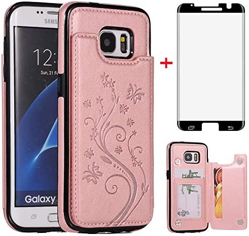Phone Case for Samsung Galaxy S7 Edge with Tempered Glass Screen Protector Card Holder Wallet product image