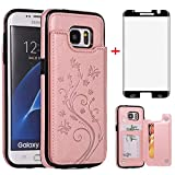 Phone Case for Samsung Galaxy S7 Edge with Tempered Glass Screen Protector Card Holder Wallet Cover Stand Flip Leather Cell Glaxay S7edge Gaxaly S 7 Plus Galaxies GS7 7s 7edge Cases Women Rose Gold
