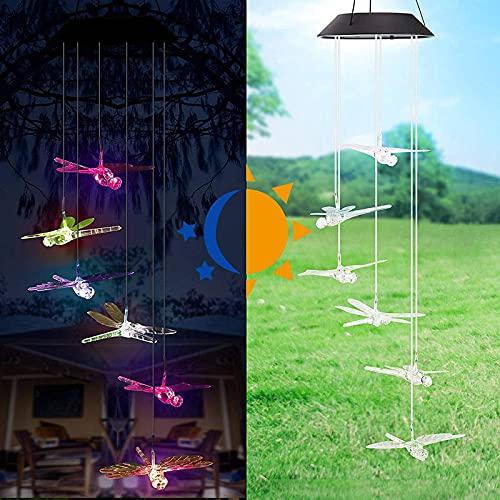 HQMINDZ LED Solar Wind Chime luz Que Cambia de Color a Prueba de Agua Colgante lámpara Colgante hogar jardín Exterior decoración libélula