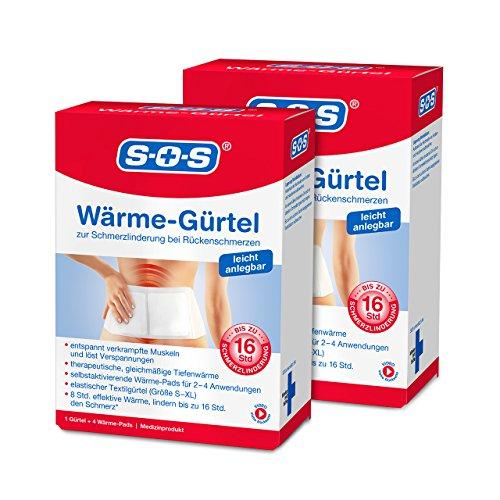 SOS Wärme-Gürtel, zur Schmerzlinderung bei Rückenschmerzen, Gürtel mit Wärmepads bei verkrampften Muskeln und Verspannungen (2 x Wärmegurt, je 4 Wärme Pads)