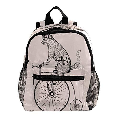 Katze, die EIN Einrad reitet Rucksack 3-8 Jahre Kids Lightweight Toddler Kinderrucksack für Vorschule Kindergarten und Reise Baby Wickeltasche 25.4x10x30CM