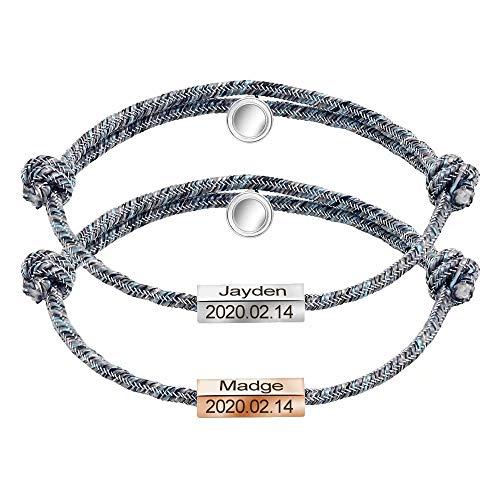 Conjunto de pulseras de aniversario personalizadas Pulsera de cuerda de cordón con campanas magnéticas, 2 piezas Parejas de atracción mutua Pulsera a juego de grabado personalizado para mujeres