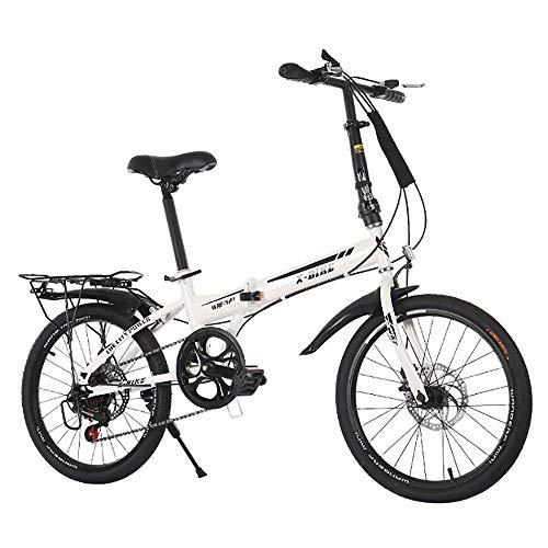 MTTKTTBD Tragbar Faltrad, Unisex Klappfahrrad,Quick-Fold-System,20 Zoll Lightweight Klapprad,Doppelscheibenbremse,First-Class Folding City Bike für Stadtreiten und Pendeln