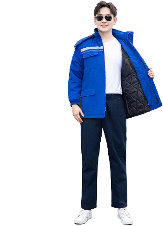 Mens Warm Cargo Jacket Winter Multi Pockets Work Coat for Garden Cleaning Job Work Uniform Hoodie