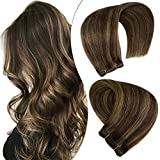 Hetto Weft Bundles Human Hair Extensions 14 Inch Weave Hair Sew in Double Weft Hair Extensions #2 Darkest Brown and #8 Light Brown Straight Brazilian Hair Bundles 80G