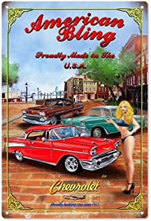 Vintage American Bling Proudly Made in The USA Chevrolet Pin Up Girl Reproduction Sign