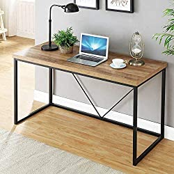 FOLUBAN Rustic Industrial Computer Desk,Wood and Metal Writing Desk, Vintage PC Table for Home Office, Oak 47 inch