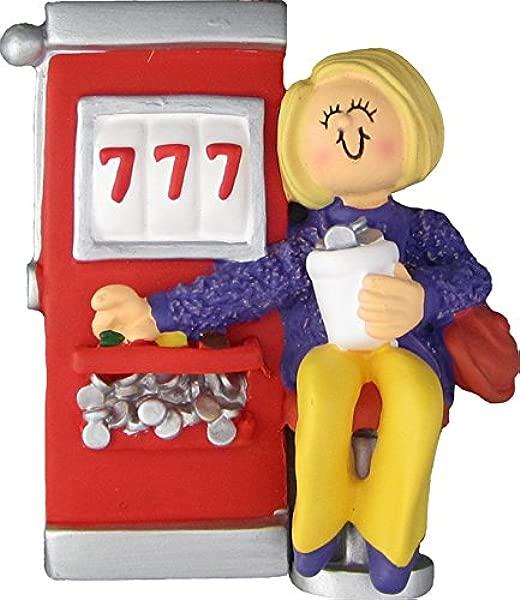 Slot Machine Gambler Female Blonde Personalized Christmas Tree Ornament