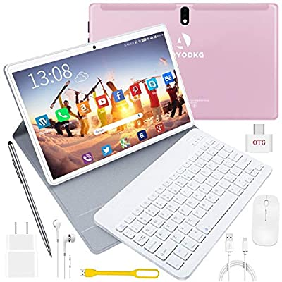 10 inch Tablet with Keyboard and Mouse, 4 GB RAM + 64 GB ROM/256GB Expansion Quad-Core Android 9.0 Tablets WiFi Dual SIM 4G and TF Card Slot 8000mAh Type-C Bluetooth OTG Android Tablet 10 inch (Pink)