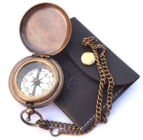 NEOVIVID Handmade Brass Push Open Compass On Chain with Leather Case, Pocket Compass, Gift Compass