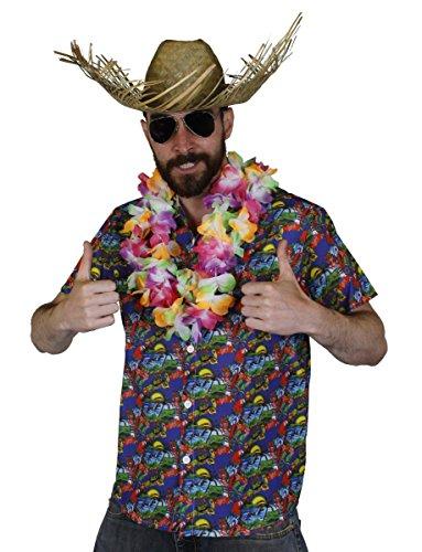 Juego de disfraz de HAWAIIAN para hombre – Camisa HAWAIIAN HULA AZUL + MULTI COLOR FLOR LEI + Sombrero de playa Luau Beach Fiesta Verano (XL)