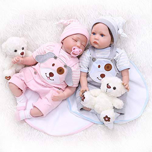TERABITHIA 22 inch 55cm My Little Sweetheart Real Baby Size Puppy Silicone Vinyl Reborn Baby Boy Girl Dolls Newborn Twins That Look Real and Feel Real