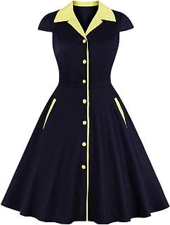 Wellwits - Vestito da lavoro vintage da donna, con chiusura a bottoni e tasca