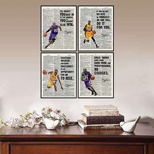 123 Life Póster De Kobe Bryant, Póster Inspirador, Lienzo Artístico De Pared Motivacional Para LA Lakers, Aficionado A Los Deportes De Baloncesto, Atleta, Sin Marco, 20x25 Cm