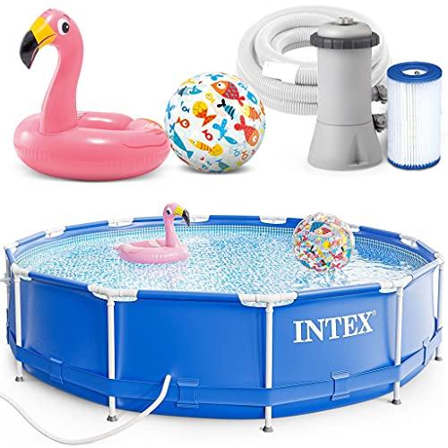 INTEX 366 x 76 cm Metal Frame Swimming Pool Schwimmbecken 28212 Komplett-Set mit Extra-Zubehör wie: Schwimmring und Strandball