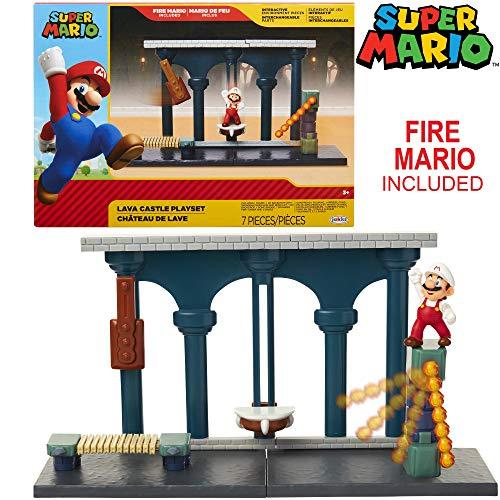 "SUPER MARIO Nintendo Lava Castle Deluxe Play Set, Includes: 2.5"" Fire Mario Figure & Mechanical Features, Spinning Fireballs Tower, Swinging Pendulum, Bone Lift & Bridge"