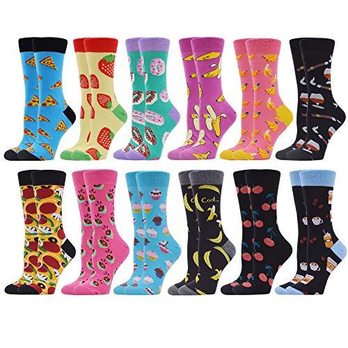 WeciBor Damen-Strümpfe mit Muster und langen Socken aus Baumwolle, bedruckt, beliebte Mode mit lustigen Motiven, Mehrfarbig One size