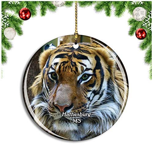 Weekino Hattiesburg Zoo Mississippi USA Christmas Ornament Xmas Tree Decoration Hanging Pendant Travel Souvenir Collection Double Sided Porcelain 2.85 Inch